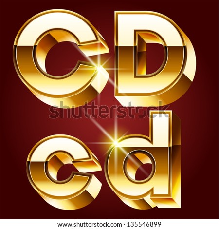 Three-dimensional golden alphabet. Vector illustration of 3d realistic font characters of gold. Letters c d - stock vector