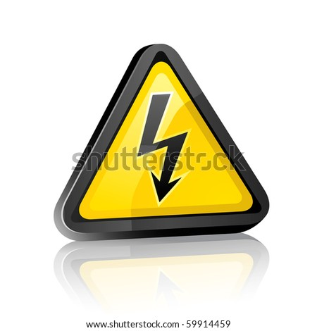 Three-dimensional Hazard warning sign with high voltage symbol on a white background with reflection - stock vector