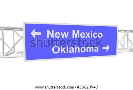 three-dimensional illustration of a road sign with directions: New Mexico; Oklahoma - stock vector