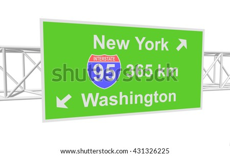 three-dimensional illustration of a road sign with directions: New York; Washington - stock vector