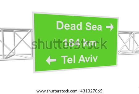 three-dimensional illustration of a road sign with directions: Tel Aviv; Dead Sea; distance - stock vector