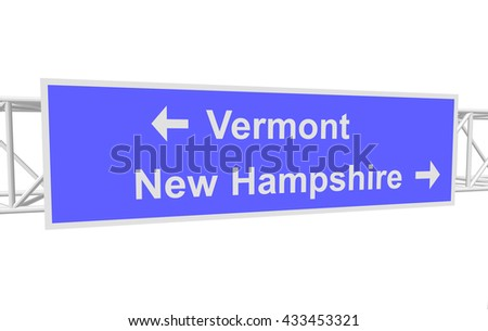 three-dimensional illustration of a road sign with directions: Vermont; New Hampshire - stock vector