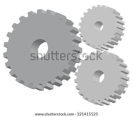 Three dimensional industrial gears vector illustration. Gears isolated over white background, 3d vector model - stock vector