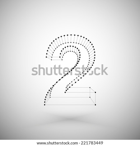 Three dimensional mesh stylish number on white background, single color clear vector. - stock vector
