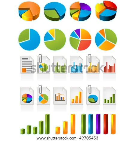 Three-dimensional pie charts and file icons - stock vector