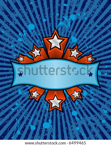 three dimensional silver stars set against a blue striped grunge background. just add your own text. - stock vector