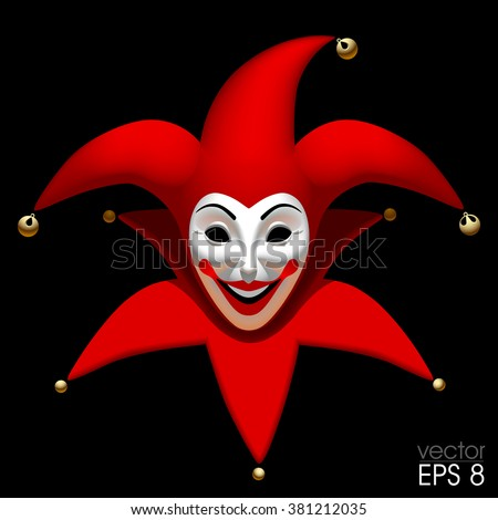 Three Dimensional smiling Joker head in red cap an white mask isolated on black. Vector illustration - stock vector