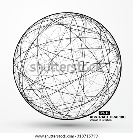 Three-dimensional sphere wireframe curve messy composition, abstract vector graphics. - stock vector