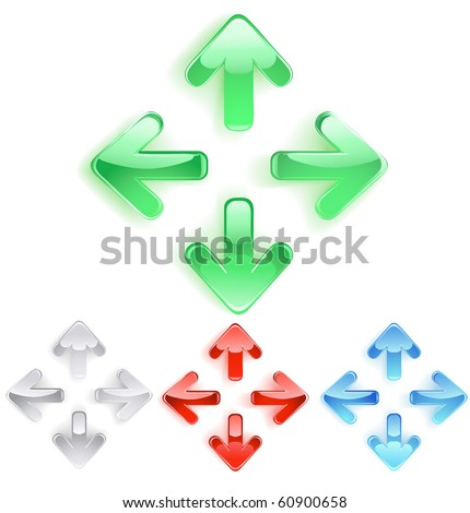 three-dimensional symbol of arrows from the bright smooth glass. - stock vector