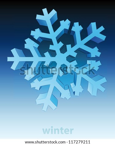three dimensional top view snowflake winter card vector template - stock vector
