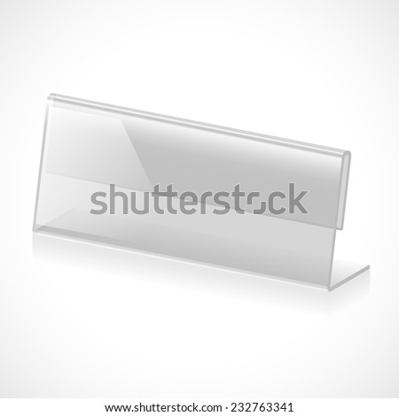 Three-dimensional transparent stand for name, title or rank on a white background. Vector illustration - stock vector