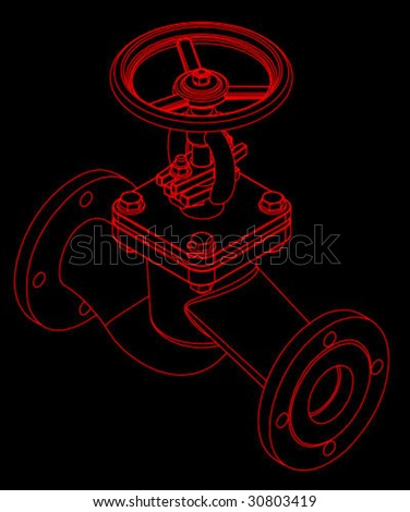 Three dimensional valve vector - stock vector