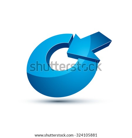 Three-dimensional vector symbol with an arrow directed into the target. Achieve goal business conceptual 3d icon. - stock vector