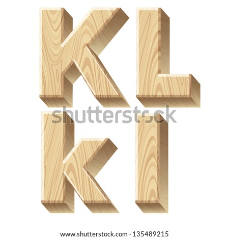 Three-dimensional wooden alphabet. Vector illustration of 3d realistic font characters of wood. Letters k l