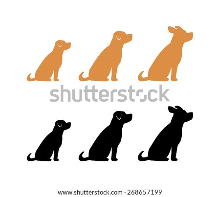 Three Dogs Sitting - stock vector
