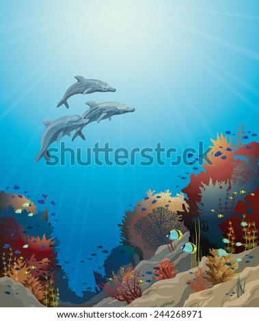 Three dolphins  and coral reef on a blue sea. Underwater vector illustration. - stock vector