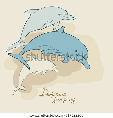 Three dolphins in jumping, vector illustration - stock vector