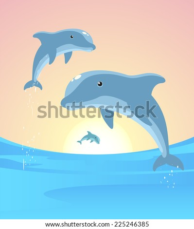 Three Dolphins jumping out of the water in the horizon vector illustration. - stock vector