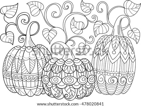 three doodle pumpkins sketch cute illustration halloween coloring pages isolated pumpkins vector - Cute Halloween Coloring Pages