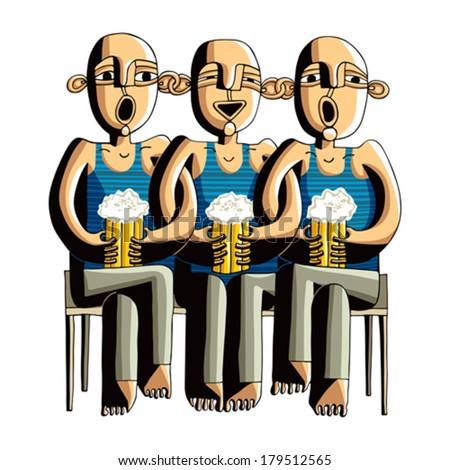 Three drinking hairless men sitting on a wooden bench, singing friends dressed in blue striped t-shirts. - stock vector
