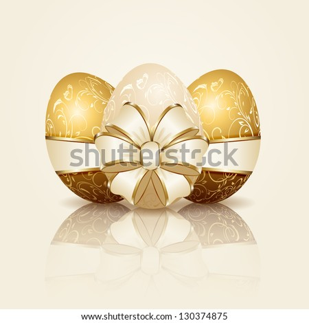 Three Easter eggs with decorative elements and ribbon, illustration. - stock vector