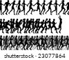 Three editable vector foregrounds of people running with all figures as separate elements - stock vector