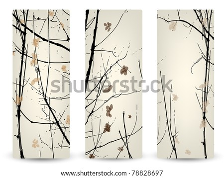 Three elegant banners with silhouette of forest - stock vector