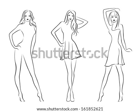 Three elegant fashion models isolated on white background, hand drawing black and white vector illustration - stock vector