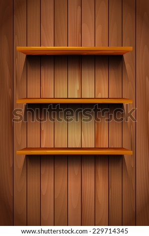Three empty wooden shelves on the wooden background - vector illustration - stock vector