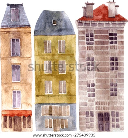 three European urban residential houses, painted in watercolor, vector set of city buildings drawing by watercolor, hand drawn vector elements - stock vector