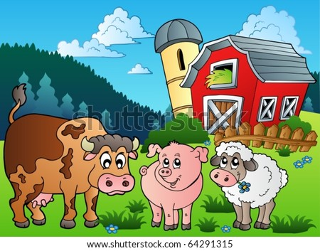 Three farm animals near barn - vector illustration. - stock vector