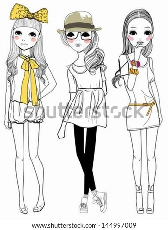 Three fashion girls - stock vector