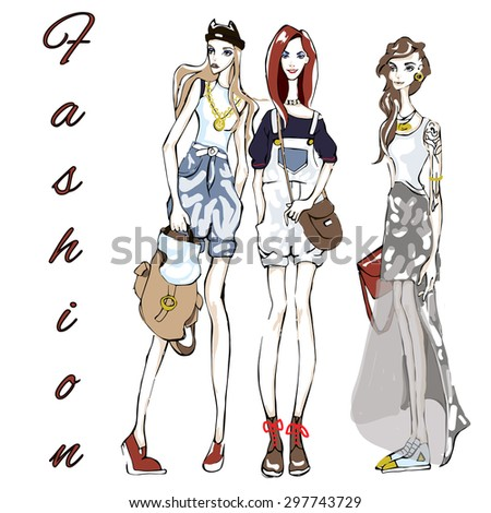 Three fashion girls and title - stock vector