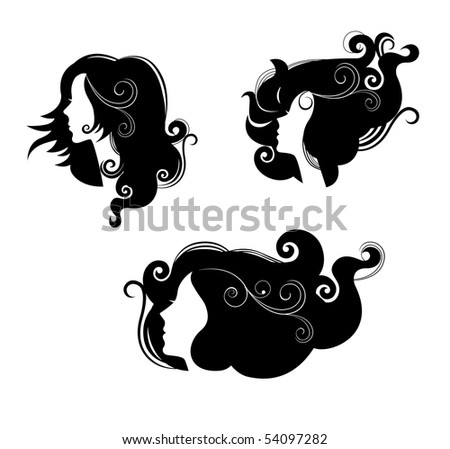 three female in profile with long hair - stock vector
