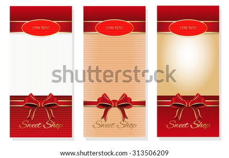 Three festive background with red bows and copy space, booklet cover design templates collection, vector brochure - stock vector