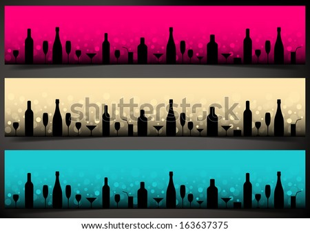 Three festive banners with alcoholic drinks on dark background. Vector version. - stock vector