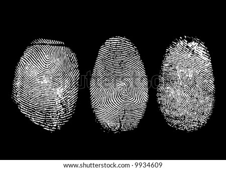Three finger prints isolated on black (vector) - stock vector