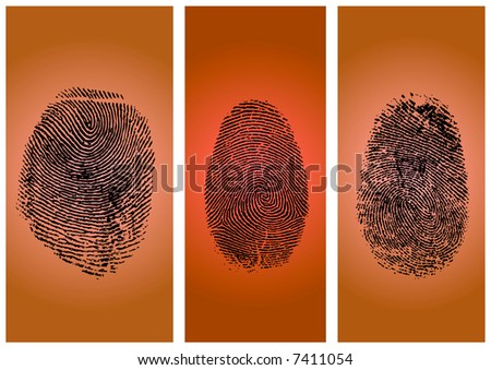 Three finger prints isolated on gradient background (vector) - stock vector