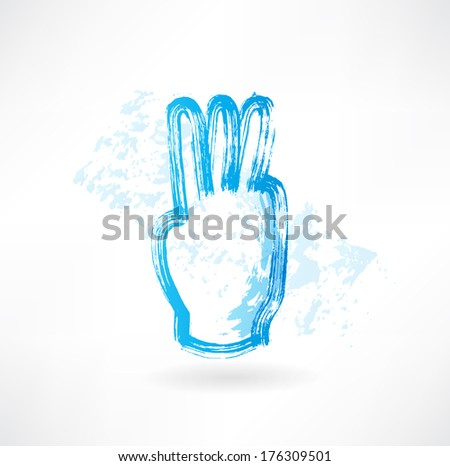 three fingers grunge icon - stock vector