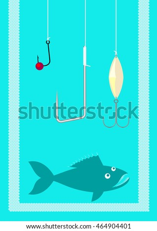 Three fishing hooks hanging over a green fish with sharp teeth, all confined within a frame of scales, open from upper side.