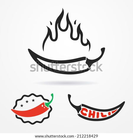 Three flat emblems with red chili peppers and flame - stock vector