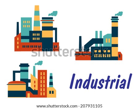 Three flat industrial icons logo showing factories, plants or refineries with smokestacks or chimneys with polluting smoke and the word - Industrial, isolated on white background - stock vector