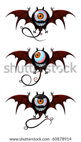Three flying monsters - webbing wings, long tails and one-eyed faces with smiling jaws. Simple objects on white background. - stock vector
