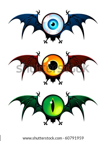 Three flying monsters with wings ? with human's eye, owl's and cat's eyes. Blue, yellow and green colors.