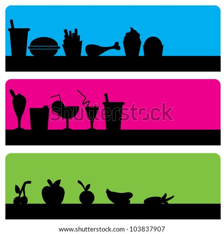 three food silhouettes background of fast food, glasses and fruits