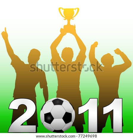 Three football players celebrate 2011 season soccer victory championship title game - stock vector