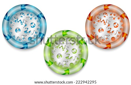 Three frames with color back light and cogwheels - stock vector