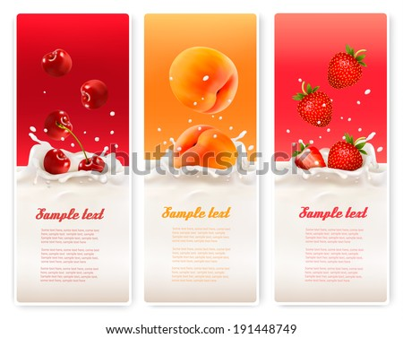 Three fruit and milk labels. Vector. - stock vector
