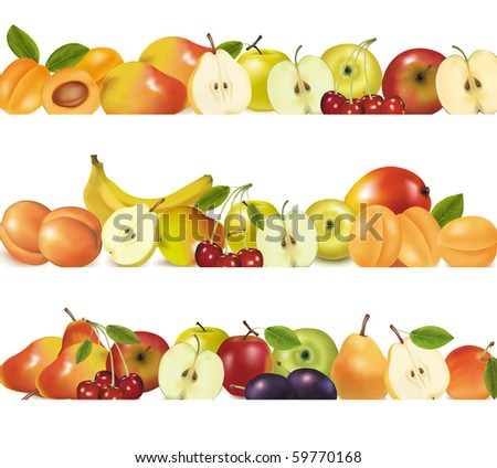 Three fruit design borders isolated on white. Vector. - stock vector