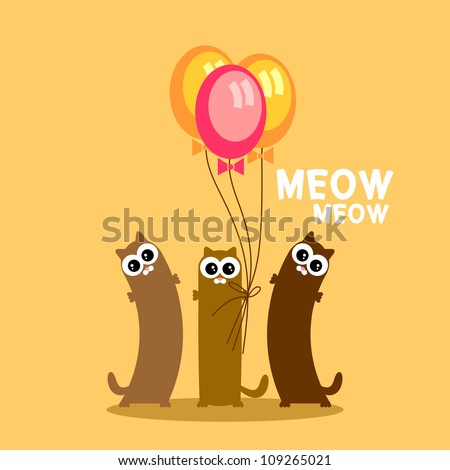 Three funny cats with balloons postcard - stock vector